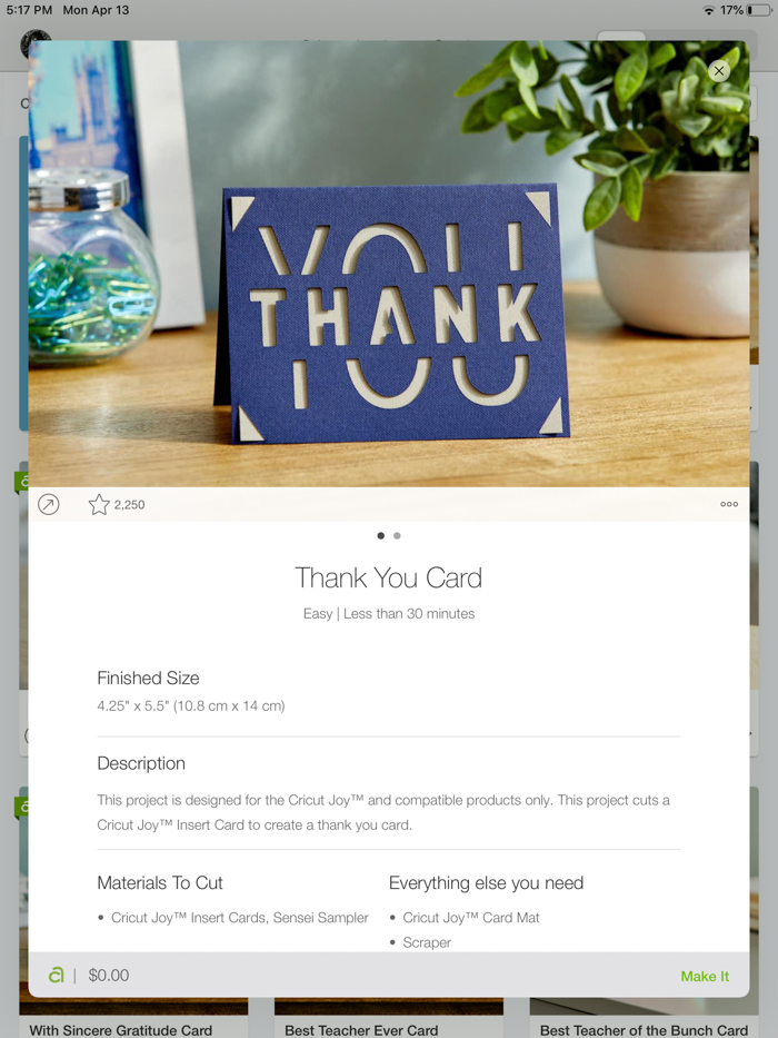 modern Cricut thank you card design