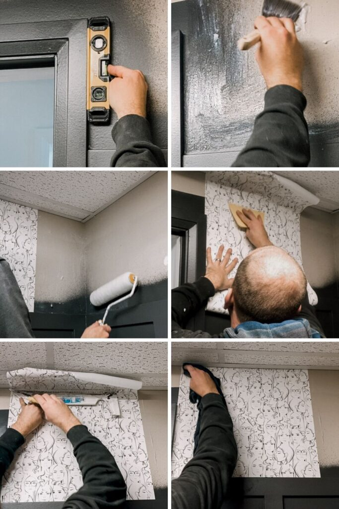 Showing How to Apply Wallpaper Around Corners