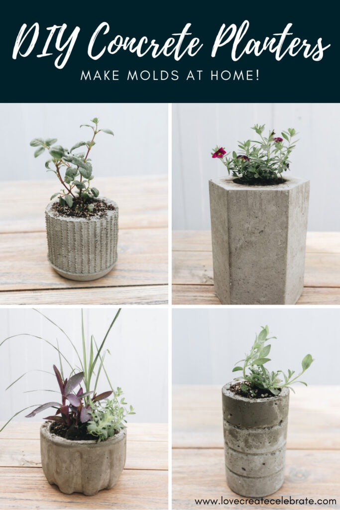 collage of planters with text reading DIY concrete planters