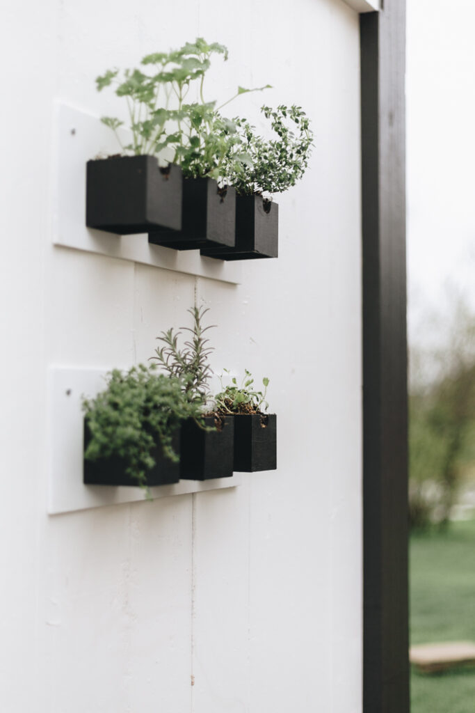 Hanging outdoor herb garden