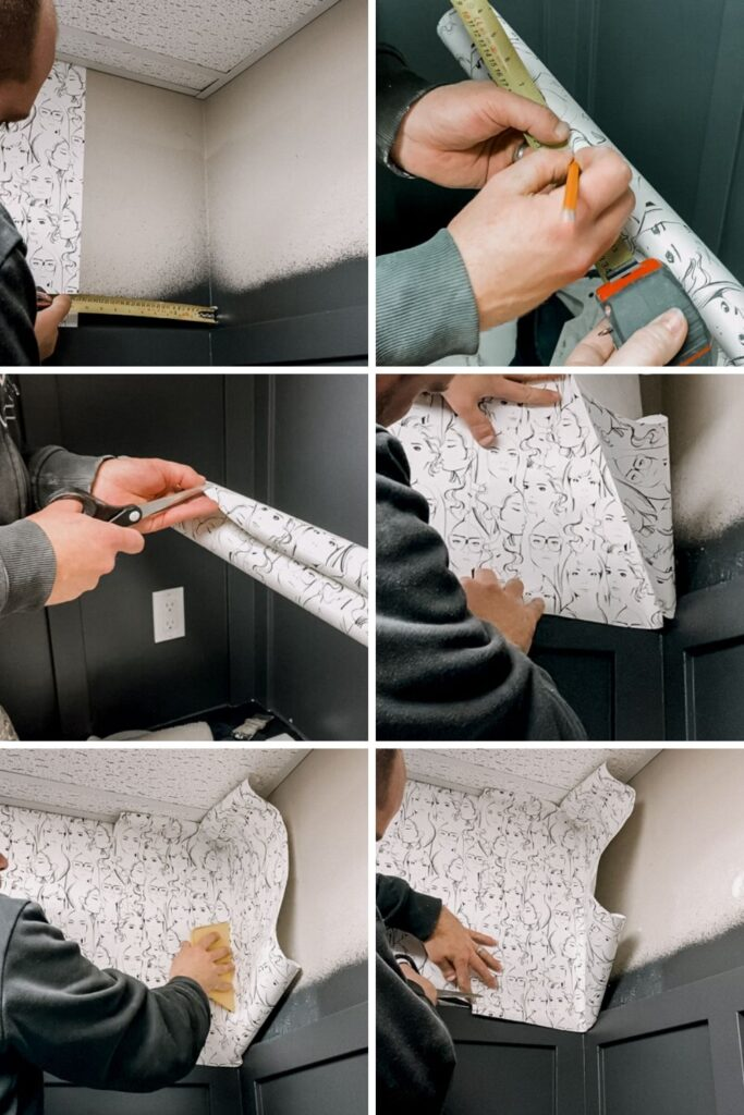Showing how to apply paste the wall wallpaper