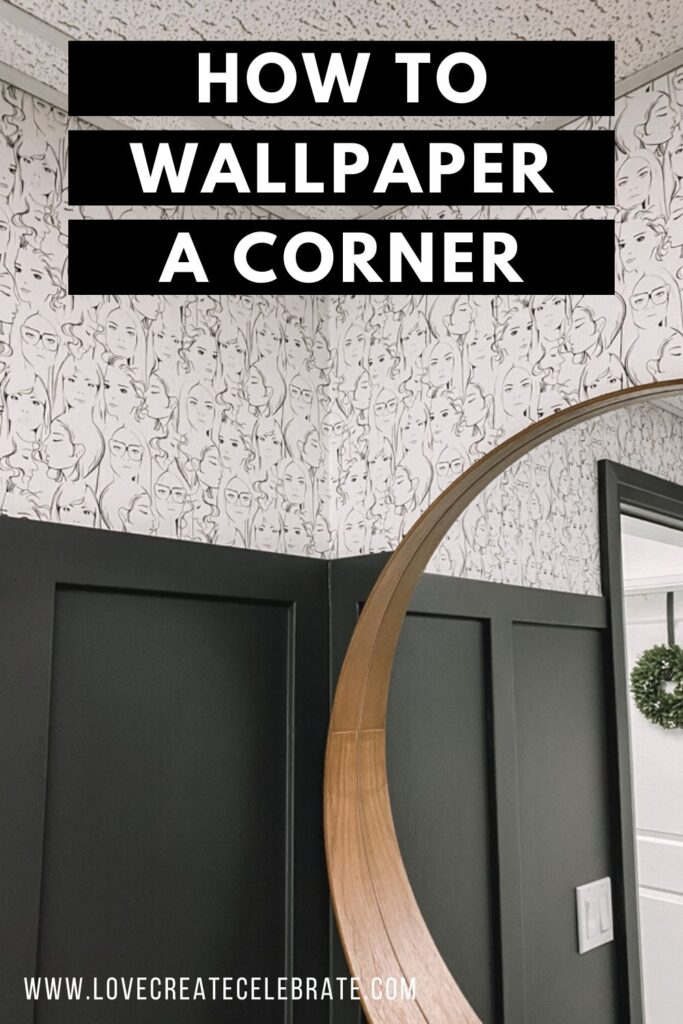 Wallpapered bathroom with text reading how to wallpaper a corner