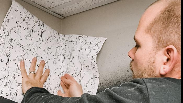 wallpapering an corner that isn't level