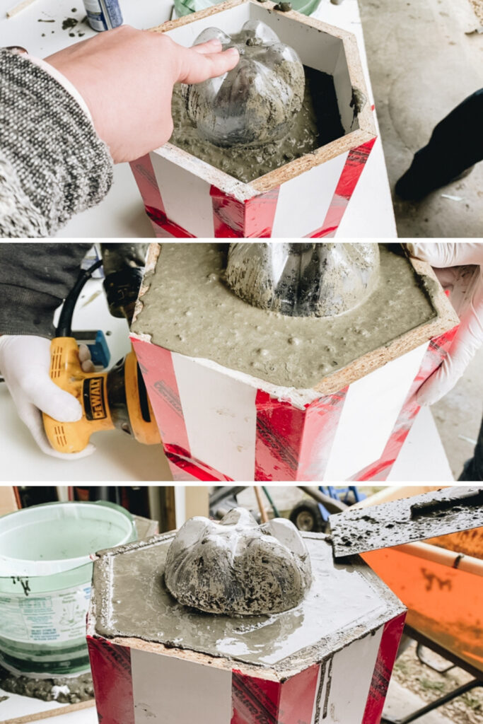 creating concrete planters with drainage