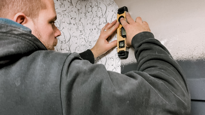 Checking that wallpaper is level