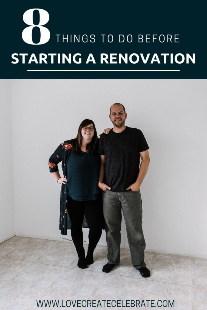empty room with renovators and text reading 8 things to do before starting a renovation