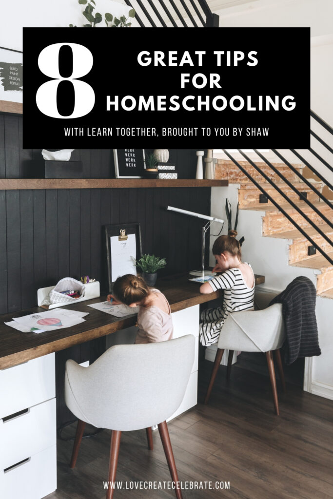 Photo of Children at a desk learning with text overlay reading 8 Great Tips for Homeschooling