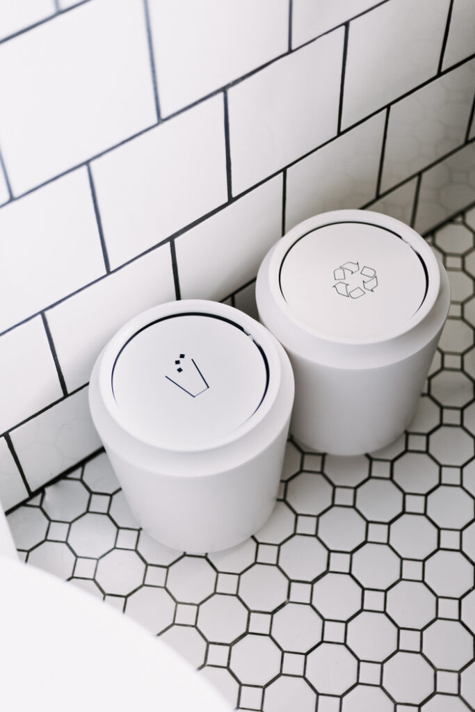 Bathroom labels for trash and recycling to reduce waste at home
