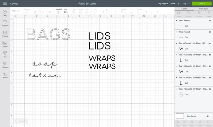 Cricut design space label ideas