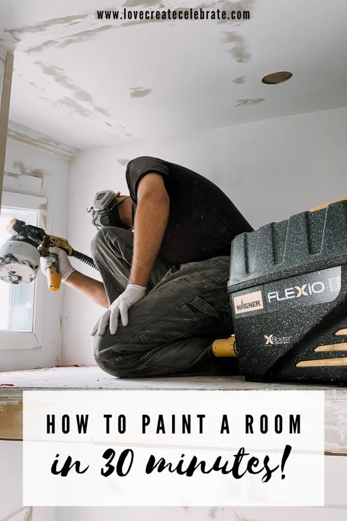 Using a paint sprayer with text overlay reading how to paint a room in 30 minutes