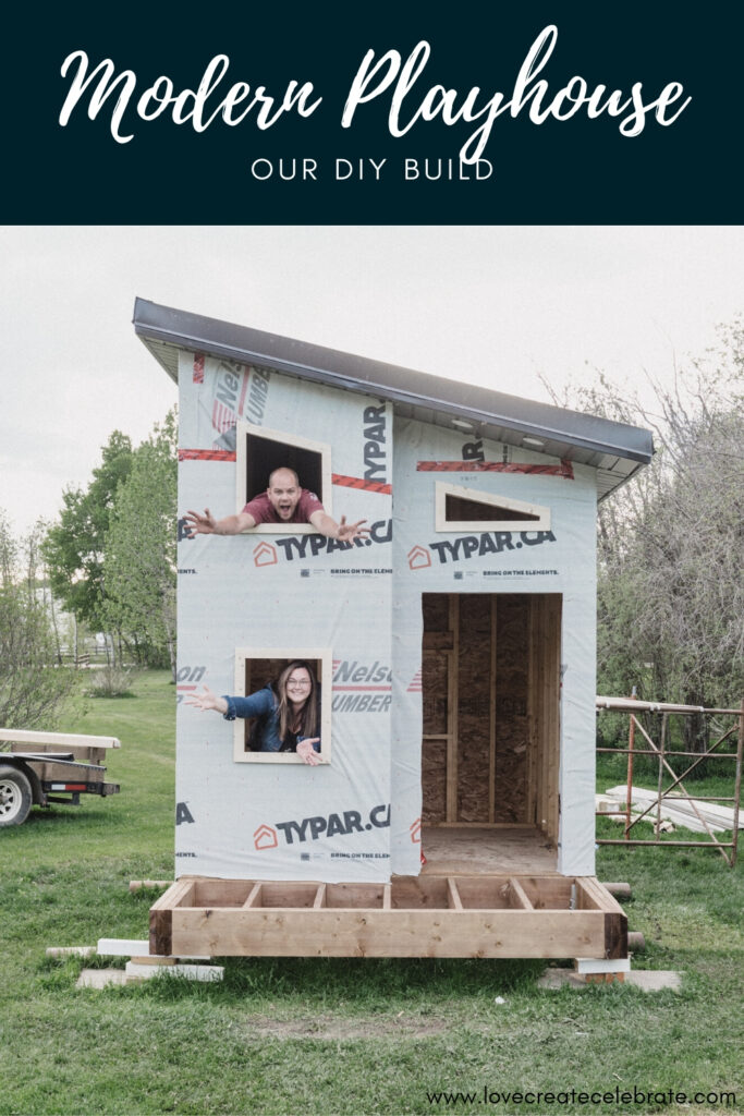 "Photo of beautiful kids playhouse with text reading ""modern playhouse"""