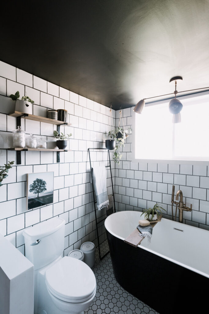 beautiful bathroom with black ceiling