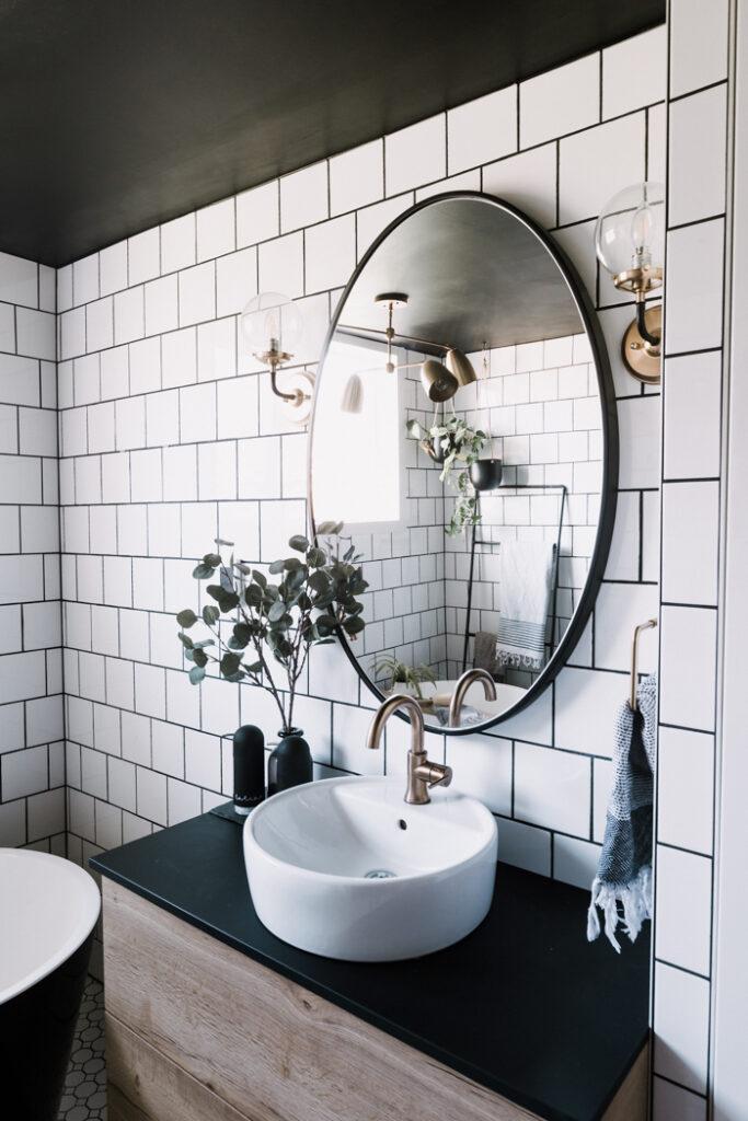 Modern bathroom with white tile