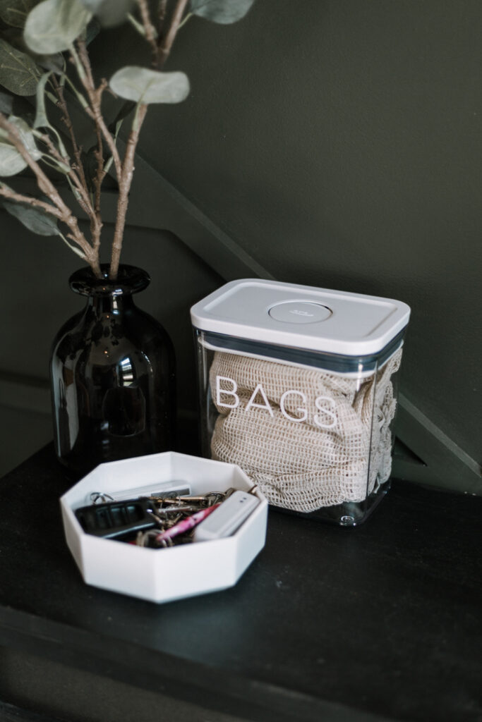 storage for grocery bags to reduce waste at home