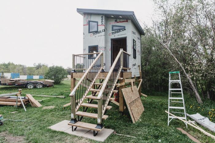 DIY raised playhouse being built