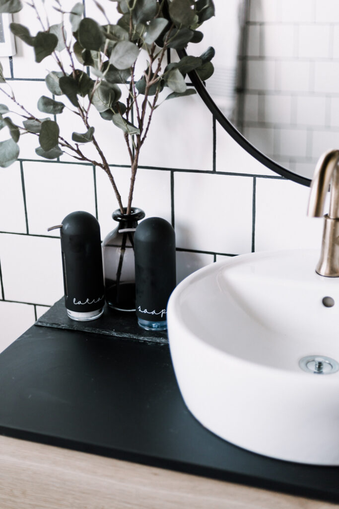 black soap dispensers with labels to reduce waste at home