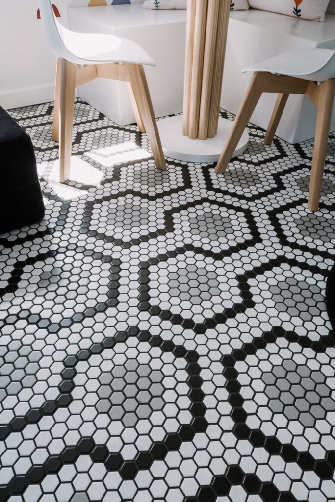 patterned black and white tile