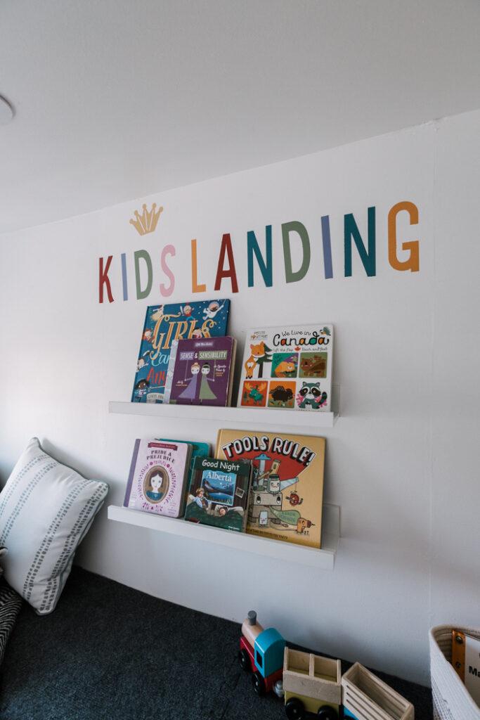 kids loft with bookshelves