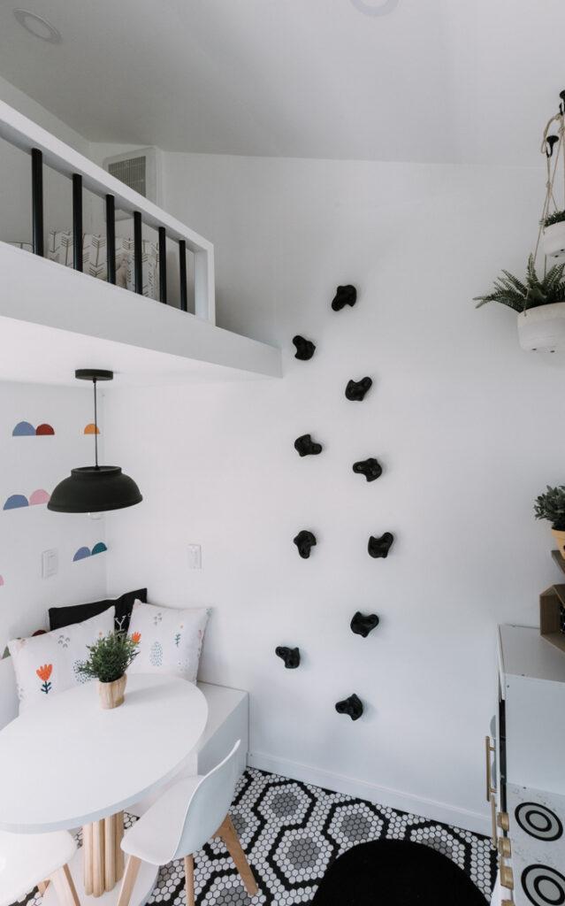 rock climbing wall in playhouse