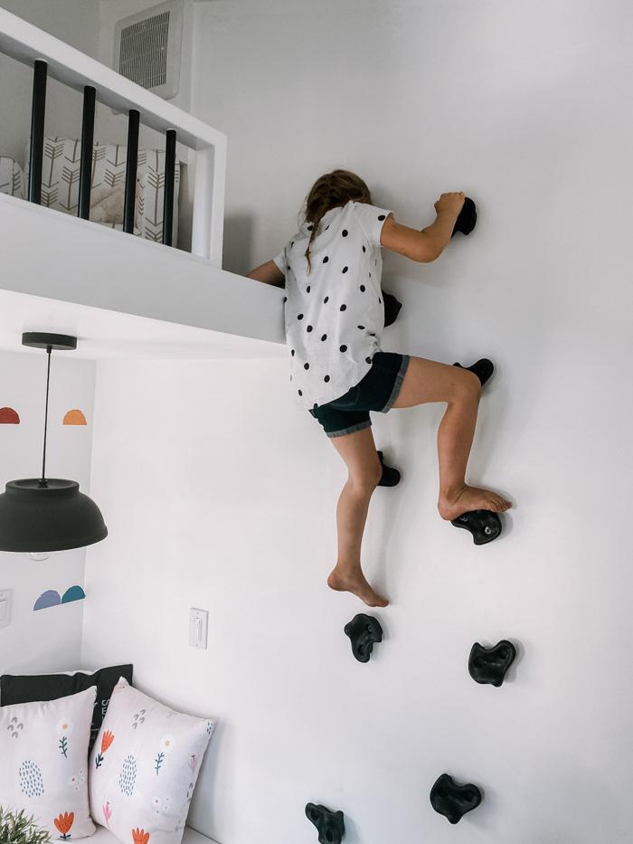 climbing playhouse rock wall