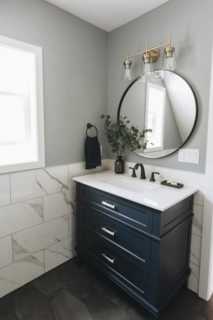 Blue and grey farmhouse bathroom