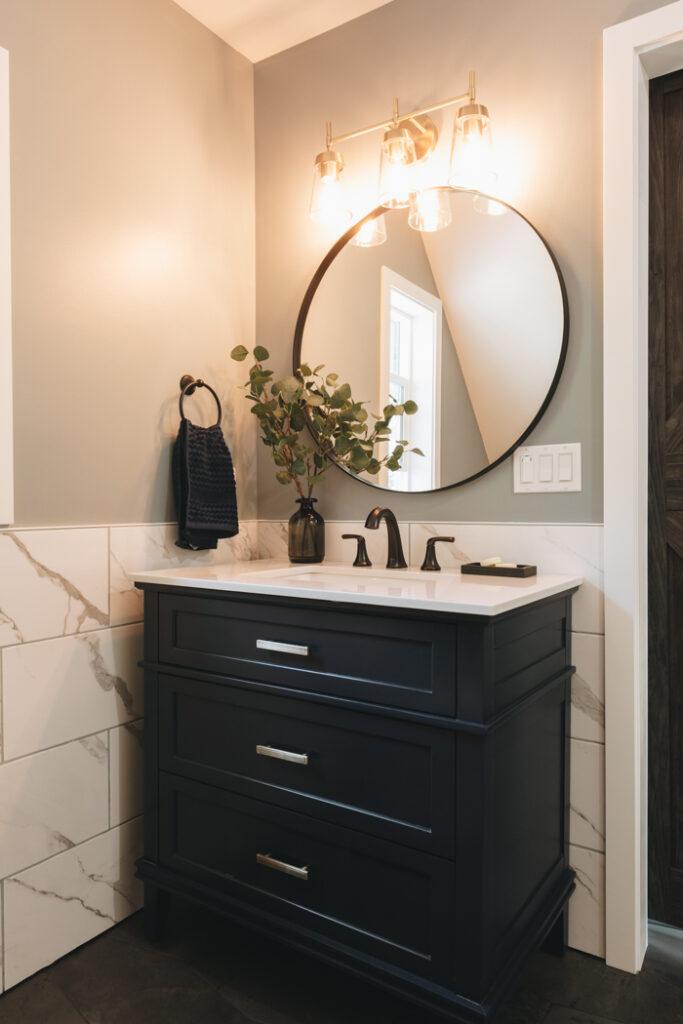 beautiful small vanity in modern farmhouse bathroom