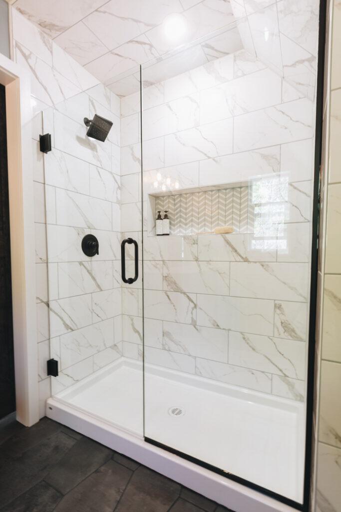 affordable white tile shower