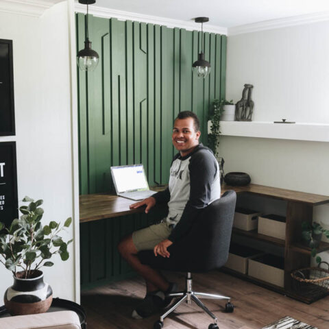 masculine home office accent wall