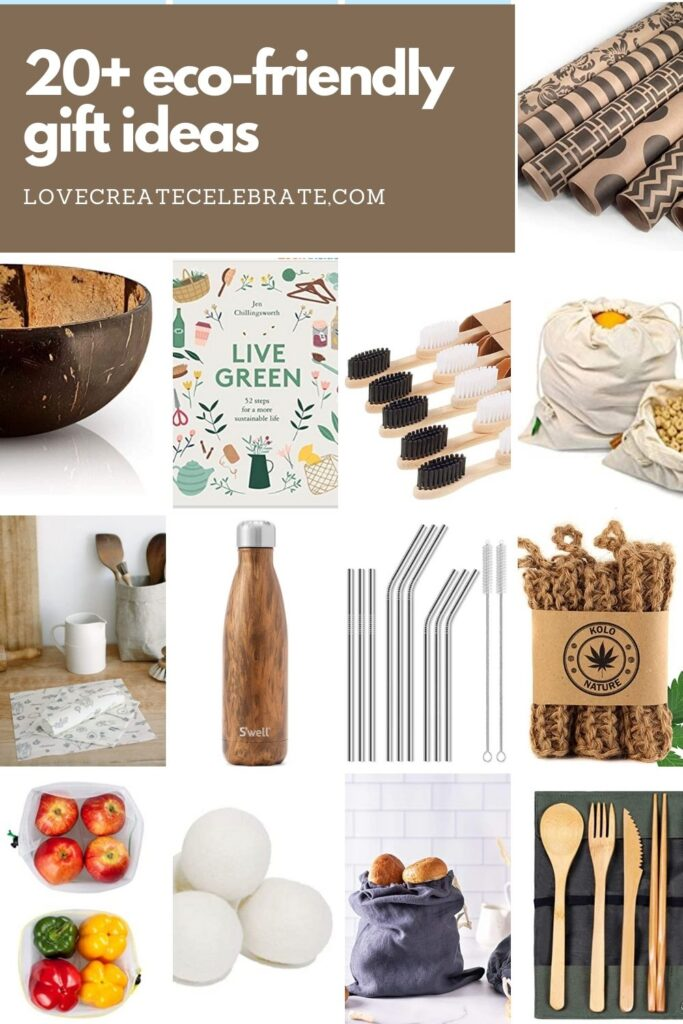 Collage of gift ideas with text reading 20+ eco-friendly gift ideas