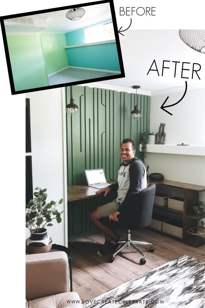 Before and after of home office accent wall