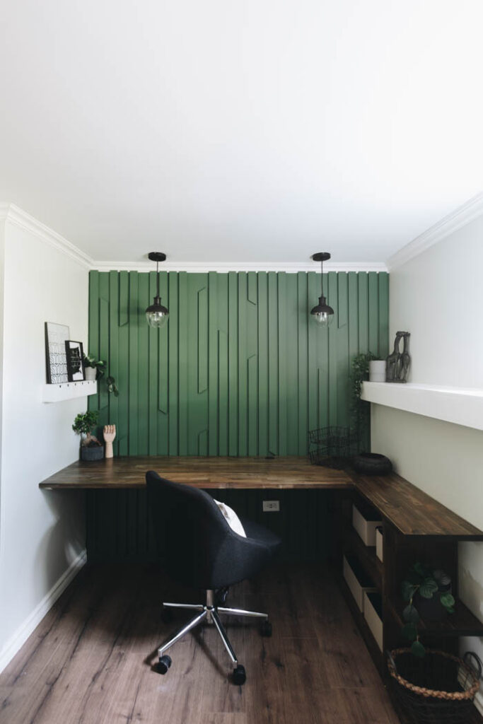 amazing home office accent wall DIY
