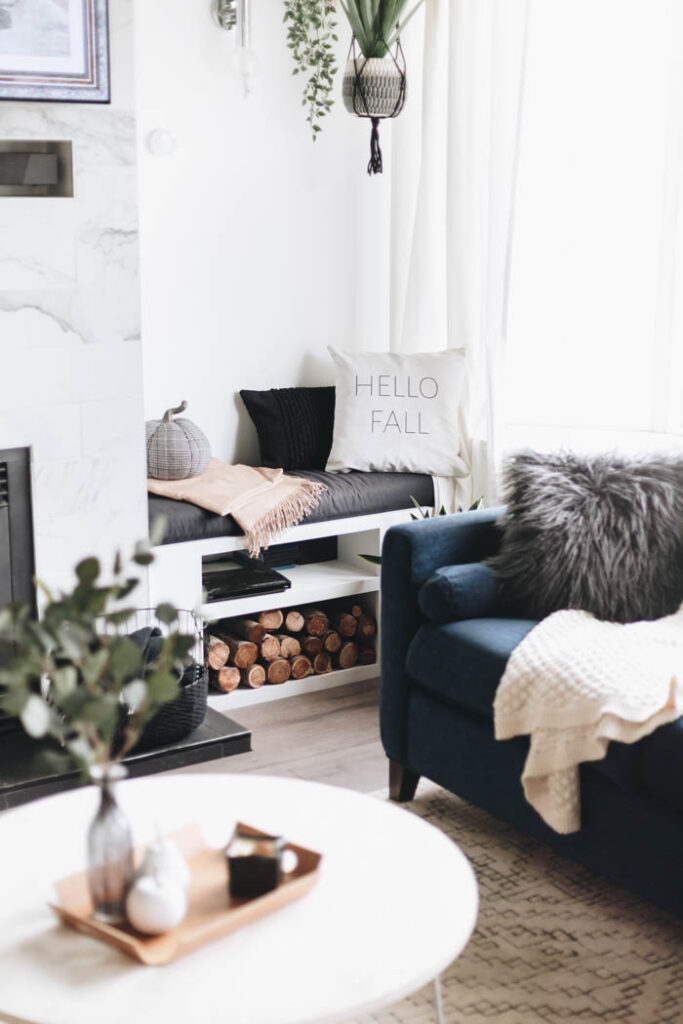 simple fall styling in the living room