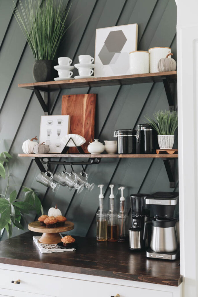 fall coffee station styling with mini pumpkins