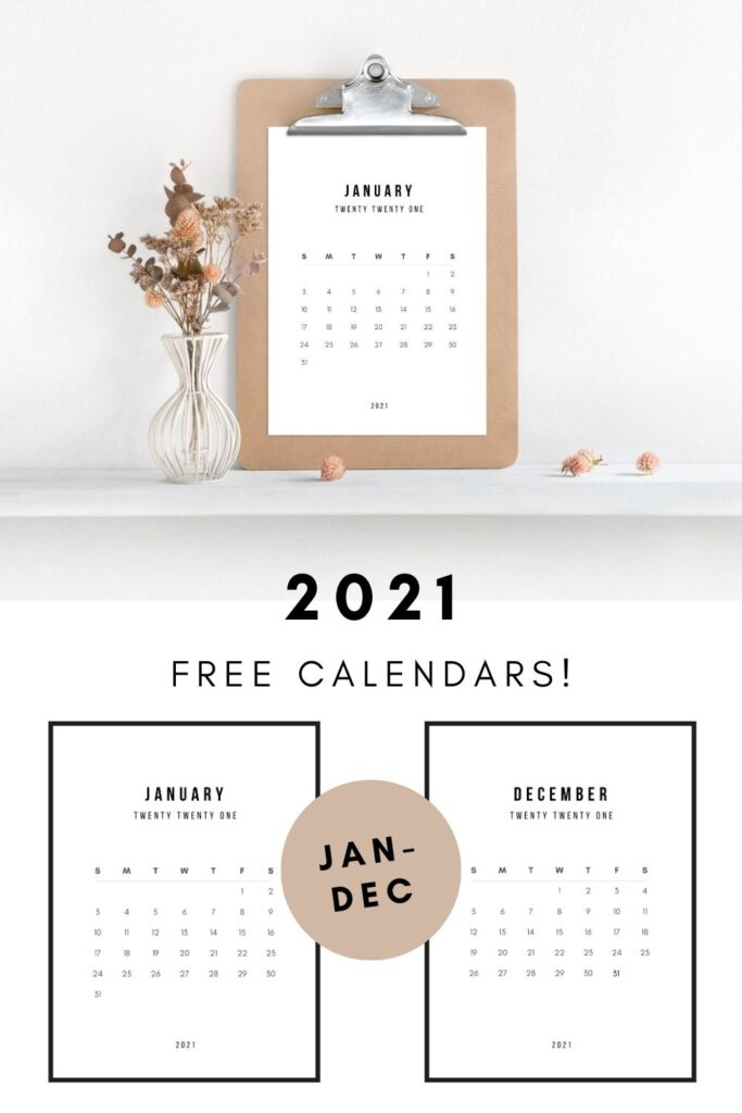 "Modern Calendar on a clipboard with text reading ""free 2021 calendar"""
