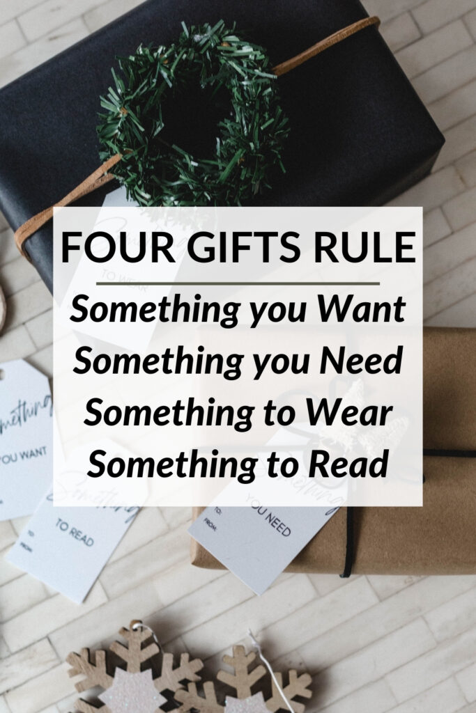Gift collage with text about the four gifts of Christmas rule
