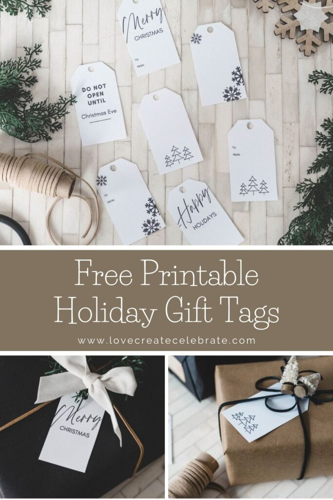 Simple design on free gift tags