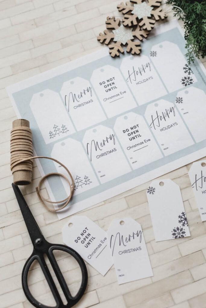 Modern printable Christmas gift tags