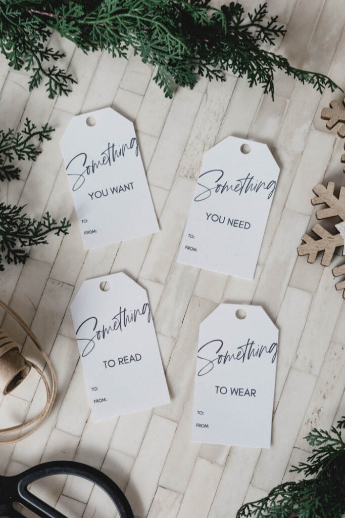 Simple printable gift tags for the gifts you want, need, wear, and read