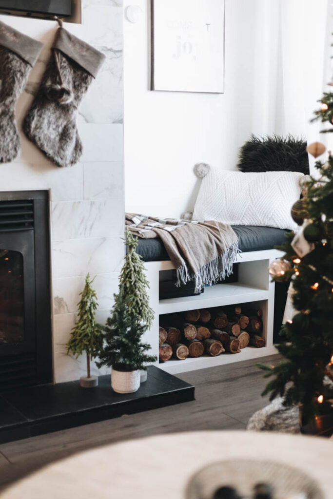 Fireplace living room decor for Christmas