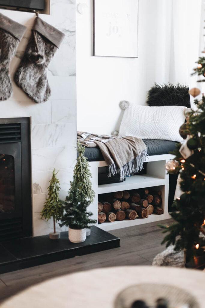 Fireplace living room decor for Christmas
