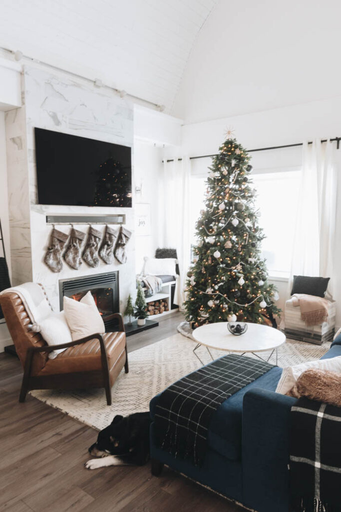 Modern Christmas decorations in the living room