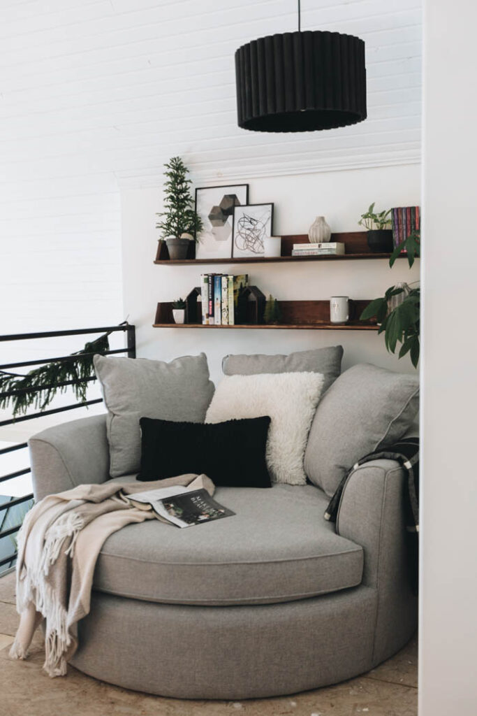 reading nook with big comfy circle chair