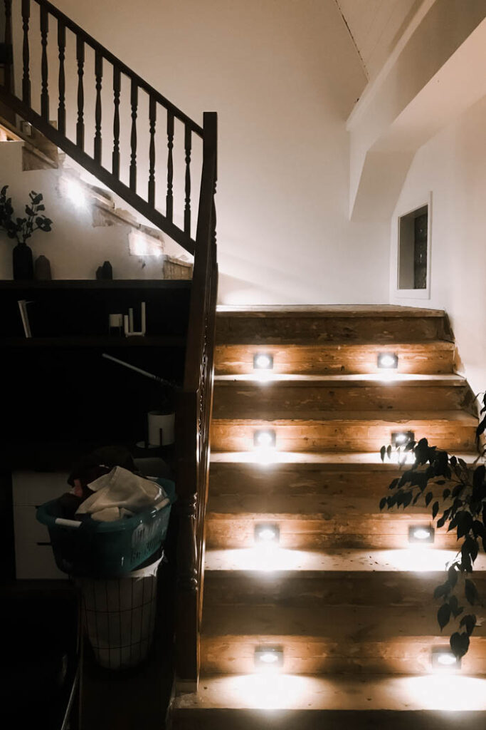 adding in-tread stair lighting