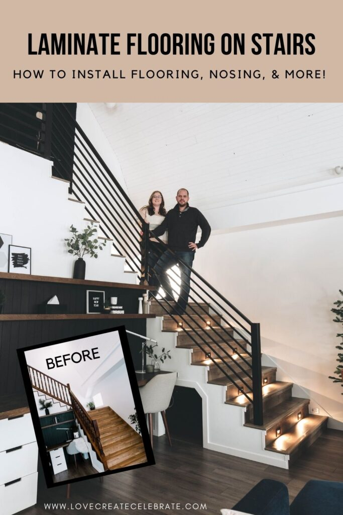 Beautiful before and after staircase DIY photos