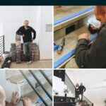 collage of photos installing laminate flooring on stairs with text reading DIY laminate flooring