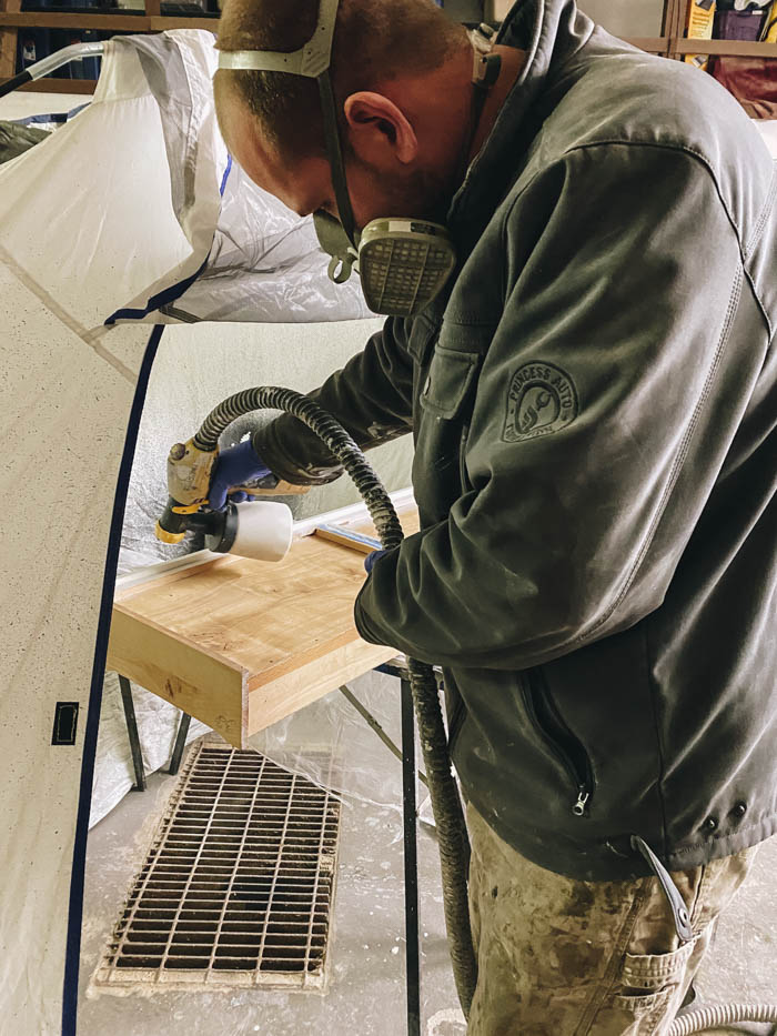 painting drawers with a paint sprayer