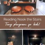"collage of kids playroom under the stairs, with text reading ""reading nook under the stairs"""