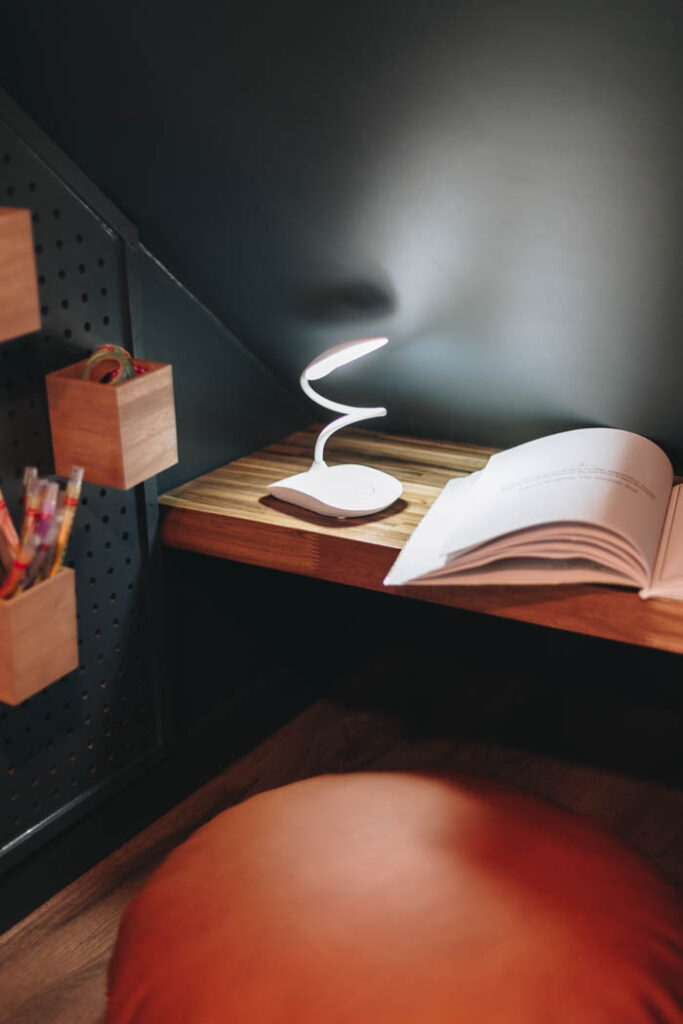 kids lamp and desk space