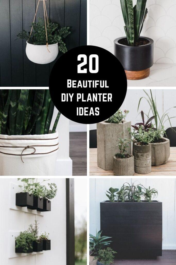Collage of DIY planter ideas