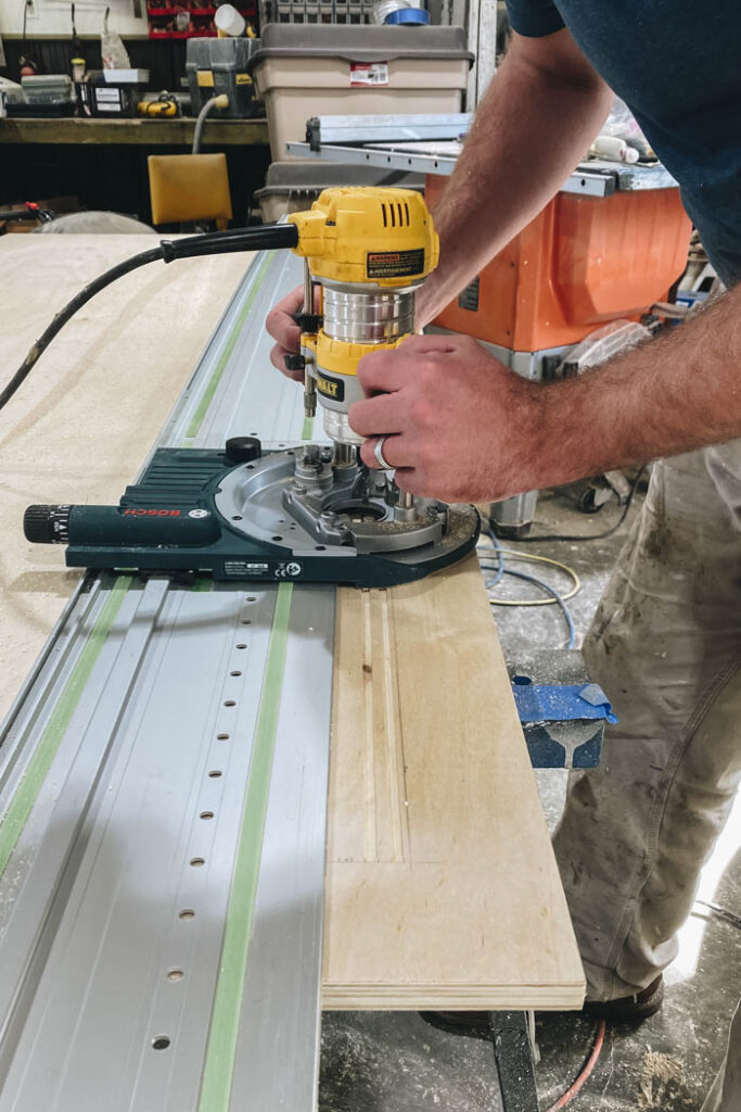 using the dewalt plunge router with the Bosch track attachment